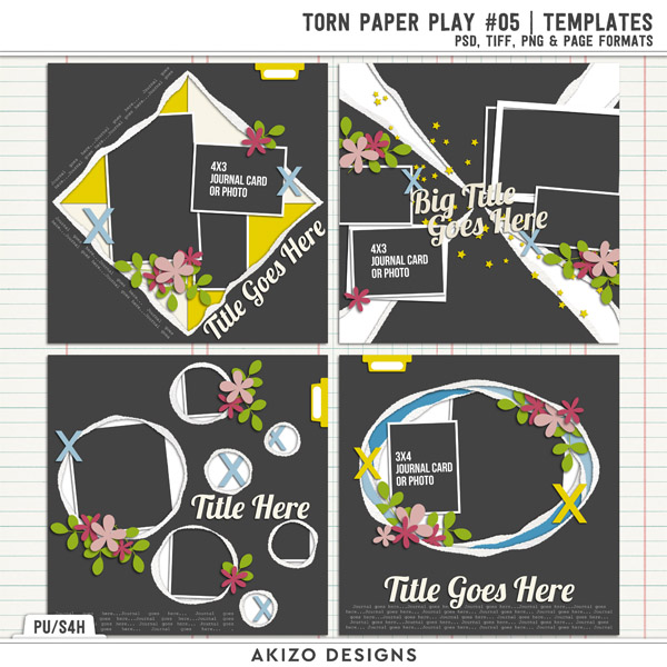 Torn Paper Play 05 | Templates by Akizo Designs