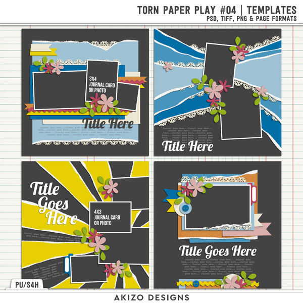 Torn Paper Play 04  | Templates by Akizo Designs