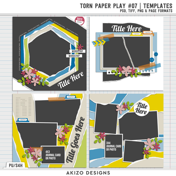 Torn Paper Play 07   Templates by Akizo Designs