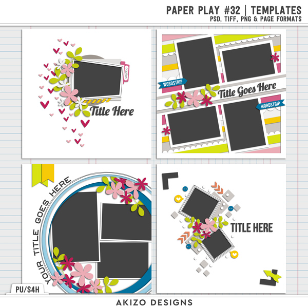 Paper Play 32 | Templates by Akizo Designs