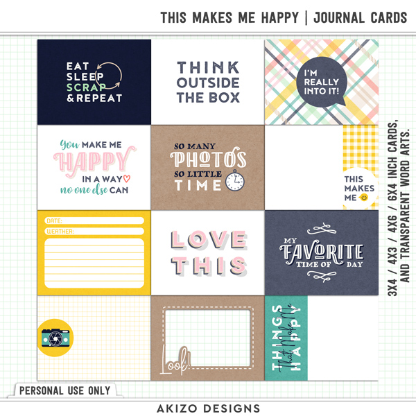 This Makes Me Happy | Journal Cards by Akizo Designs