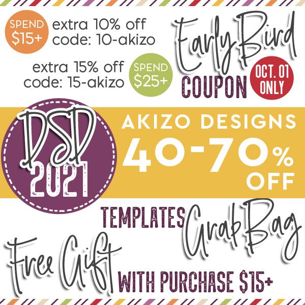 DSD 2021 Sale Extra 10 - 15% OFF | Akizo Designs | Digital Scrapbooking